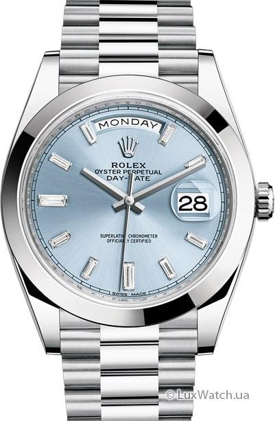 使用鉑金錶帶的勞力士冰藍色四格飾紋鉑金錶