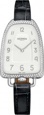 Hermes » Galop d'Hermes » Quartz 40.8 mm » Galop d'Hermes Diamonds Steel Black Alligator