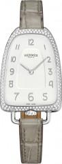 Hermes » Galop d'Hermes » Quartz 40.8 mm » Galop d'Hermes Diamonds Steel Etoupe Alligator