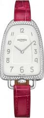 Hermes » Galop d'Hermes » Quartz 40.8 mm » Galop d'Hermes Diamonds Steel Raspberry Alligator
