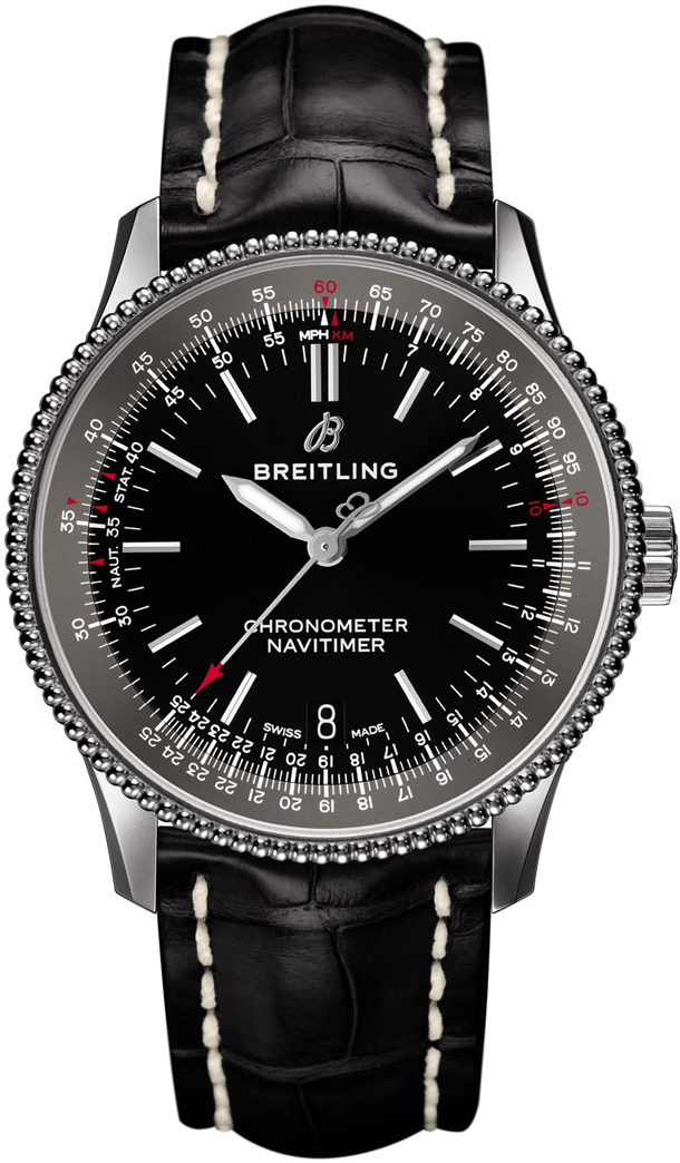Breitling-Navitimer_1_Automatic_38_with_black_dial_and_black_alligator_leather_strap