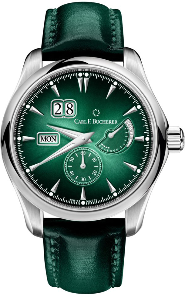 Carl-F-Buchere-Manero-PowerReserve-pin-green-special-dial