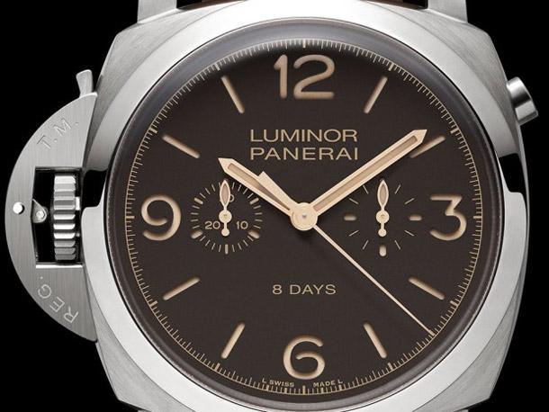 PAM-579-Luminor-1950-Chrono-Monopulsante-Destro-8-Days-Dial-Closeup